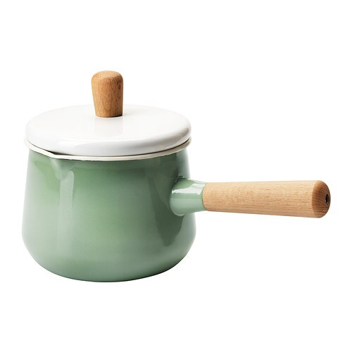 IKEA KASTRULL saucepan with lid A spout makes it safe and easy to pour liquid out of the saucepan.