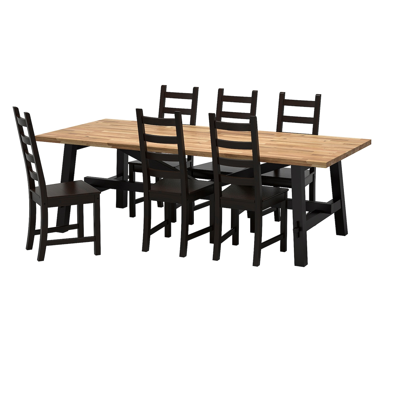 Kaustby skogsta table and 6 chairs acacia brown black for Table 6 personnes ikea