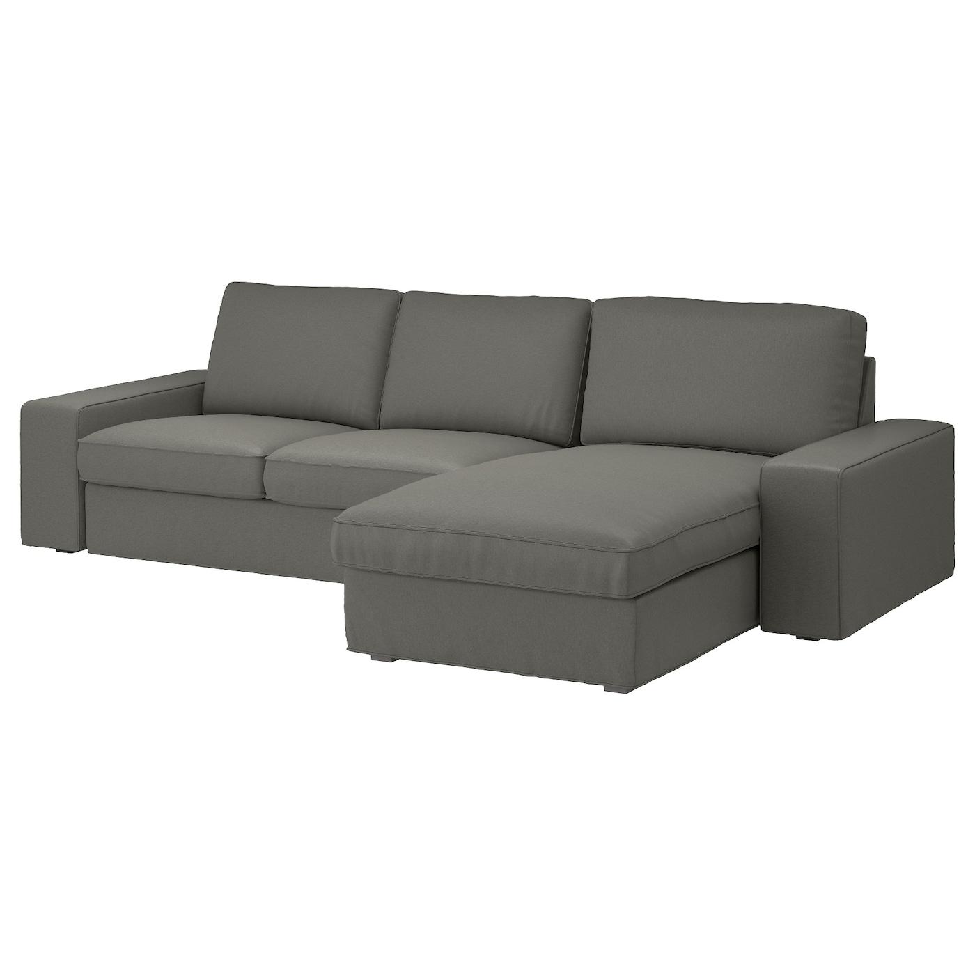 Kivik 3 Seat Sofa With Chaise Longue Borred Grey Green Ikea