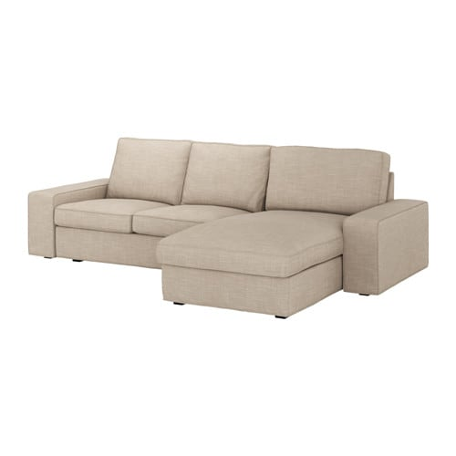Kivik 3 seat sofa with chaise longue hillared beige ikea for Ikea sofa chaise longue cama