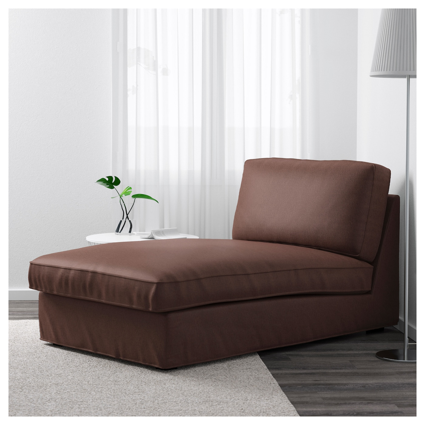 Kivik chaise longue borred dark brown ikea for Brown chaise longue