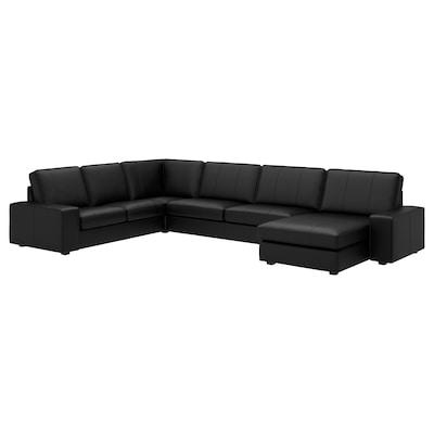 KIVIK Corner sofa, 6-seat, with chaise longue/Grann/Bomstad black