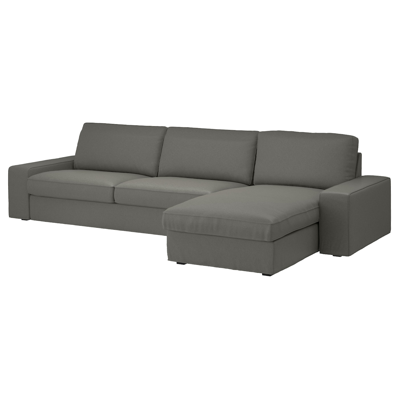 KIVIK Three seat sofa and chaise longue Borred grey green IKEA