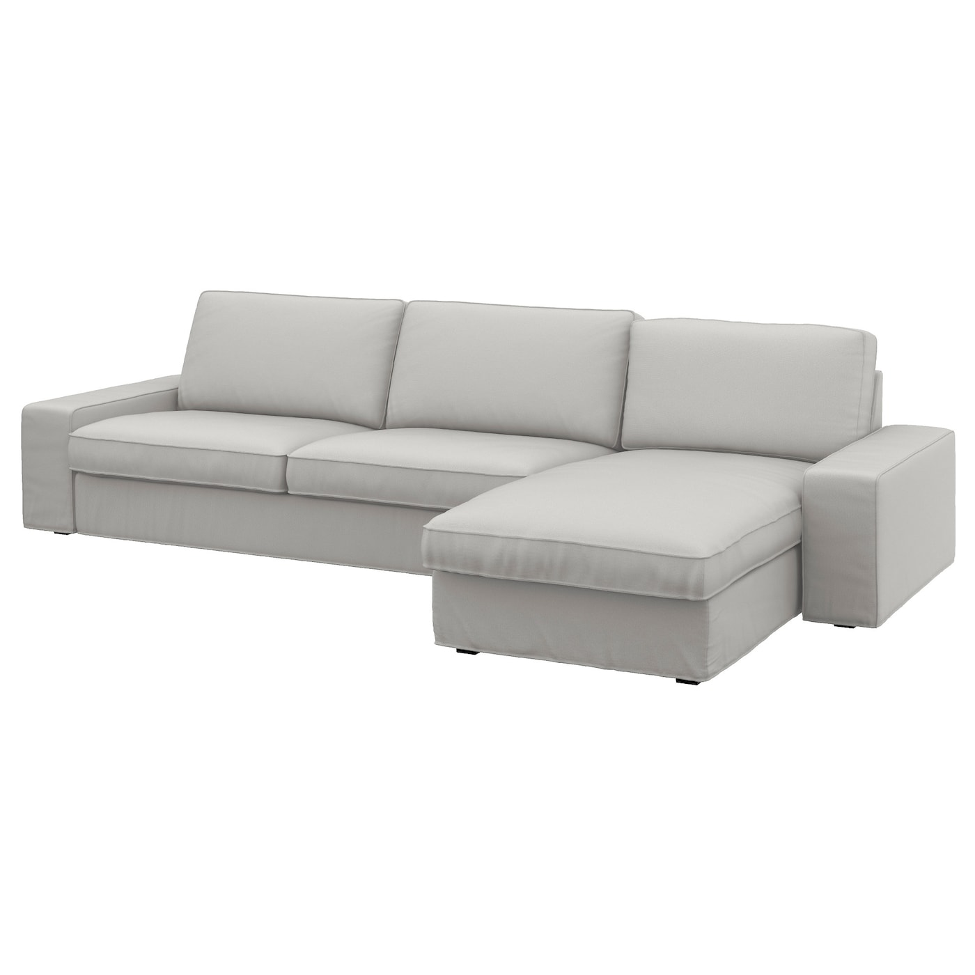 kivik three seat sofa and chaise longue ramna light grey ikea. Black Bedroom Furniture Sets. Home Design Ideas