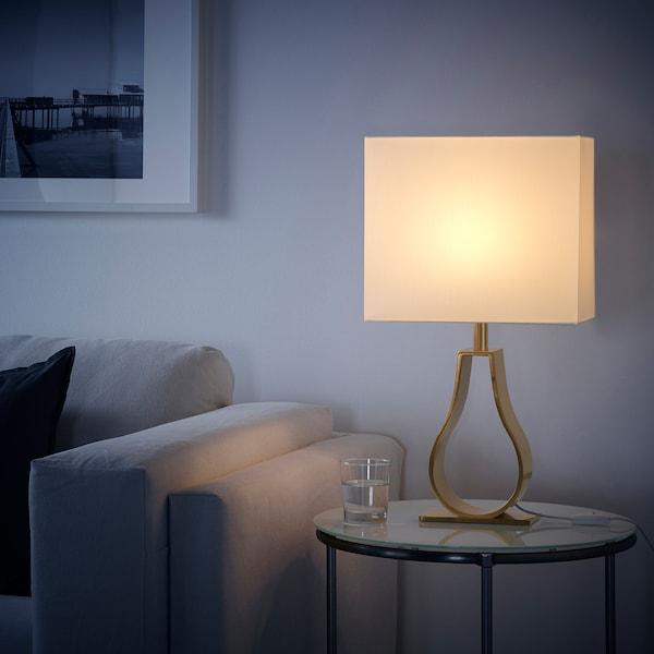KLABB Table lamp, off-white/brass-colour, 44 cm