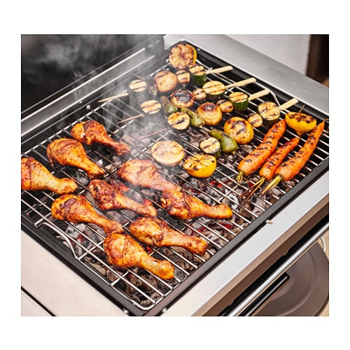 IKEA KLASEN charcoal barbecue with trolley Heat-insulated handles in stainless steel.
