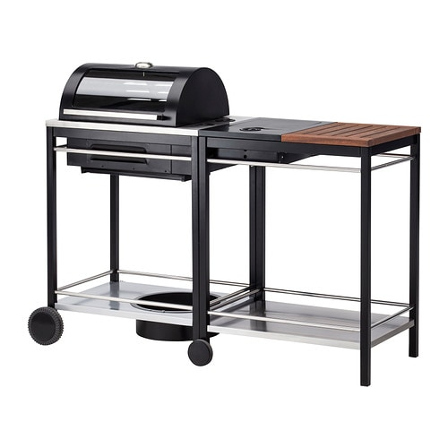IKEA KLASEN gas barbecue with side burner Heat-insulated handles in stainless steel.