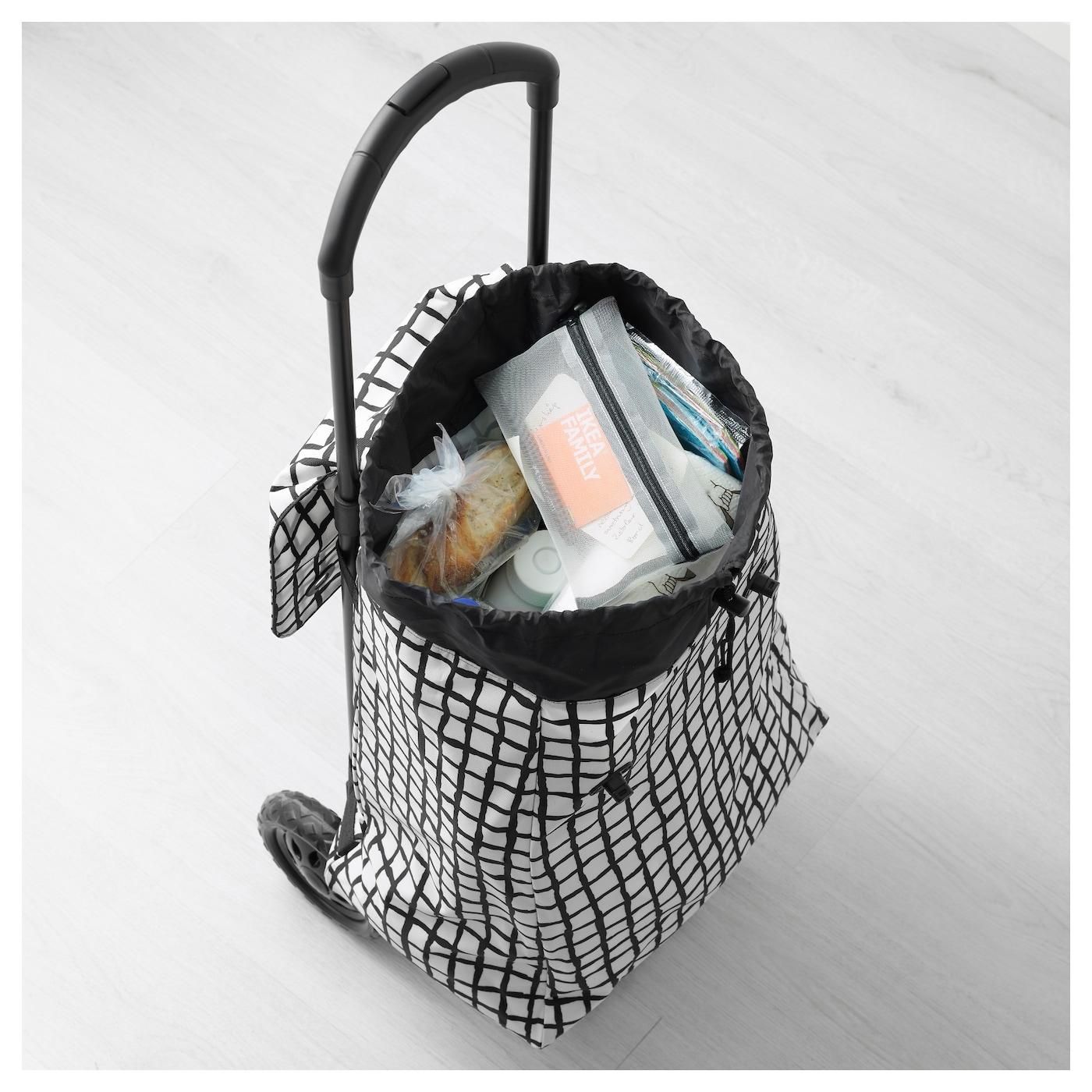 knalla shopping bag on wheels black white ikea. Black Bedroom Furniture Sets. Home Design Ideas