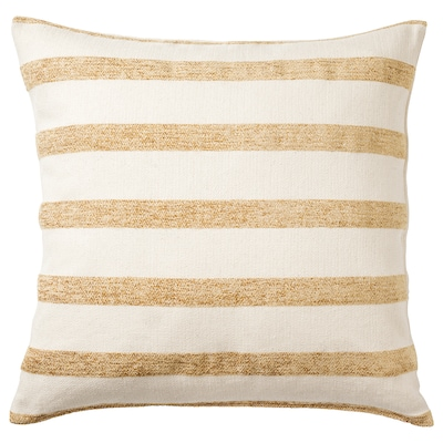 KNIPPARV Cushion, natural golden-yellow/striped, 50x50 cm