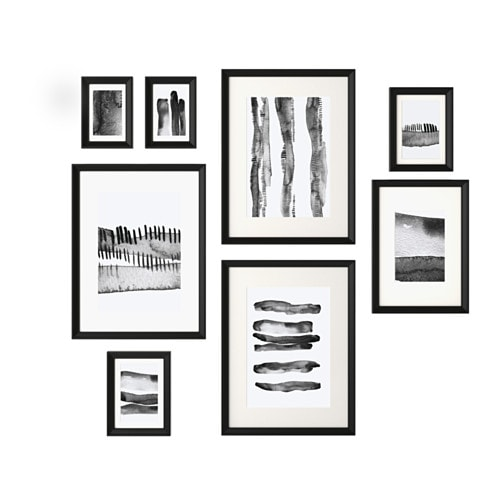 """KNOPP""""NG Frame with poster set of 8 Black IKEA"""