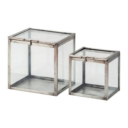 kombinerbar decoration glass box set of 2 black   ikea