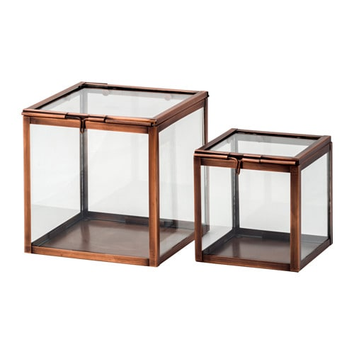 Kombinerbar Decoration Glass Box Set Of 2 Copper Colour