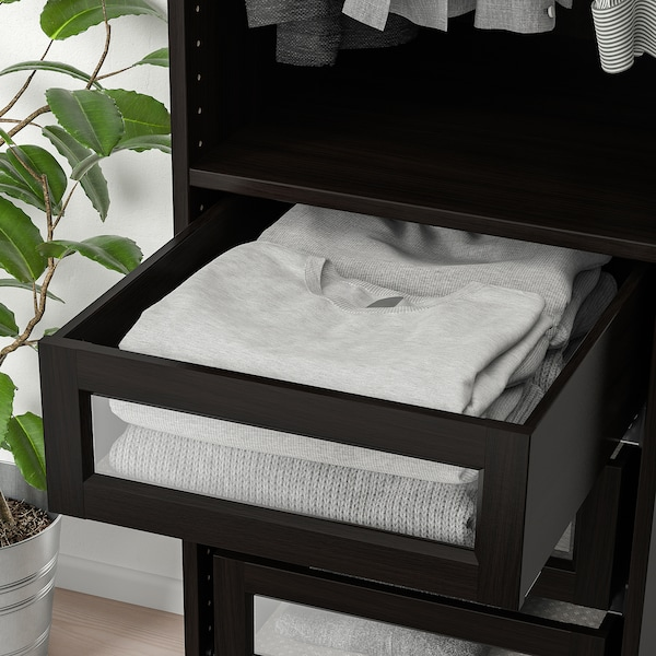 KOMPLEMENT Drawer with framed glass front, black-brown, 50x58 cm