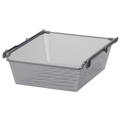 KOMPLEMENT Mesh basket with pull-out rail, dark grey, 50x58 cm