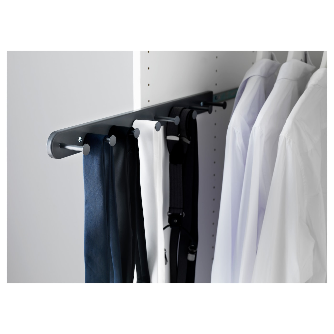 IKEA KOMPLEMENT pull-out multi-use hanger Makes use of unused space on the inside of your wardrobe.