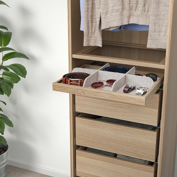 KOMPLEMENT Pull-out tray with divider, white stained oak effect/light grey, 50x35 cm