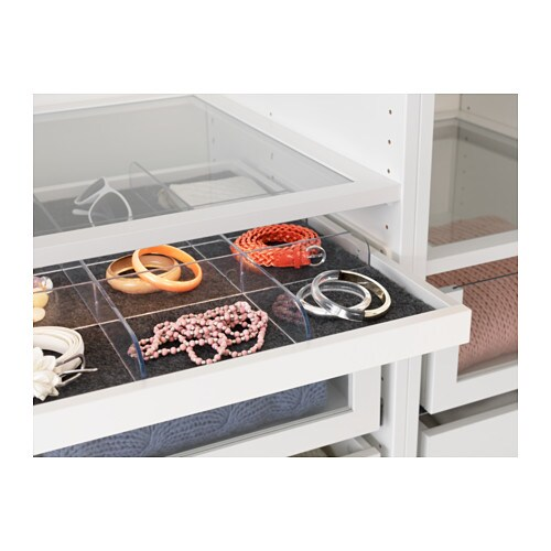 KOMPLEMENT Pull Out Tray With Divider White Transparent 100x58 Cm IKEA