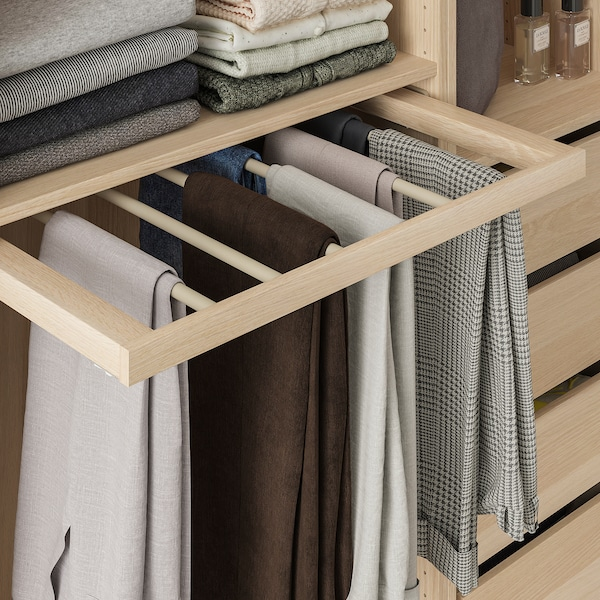 KOMPLEMENT Pull-out trouser hanger, white stained oak effect, 75x58 cm