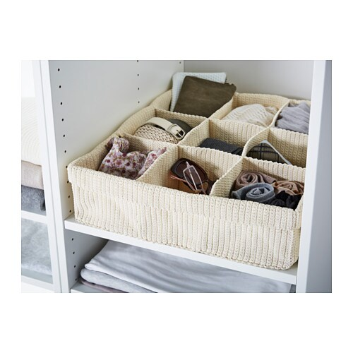IKEA KOMPLEMENT storage with compartments Handwoven compartments for underwear and socks.