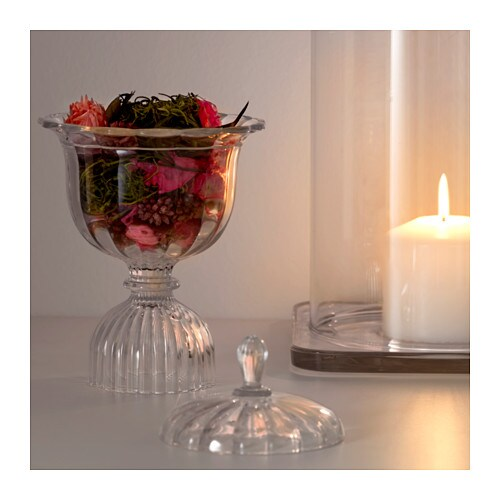 IKEA KONSTNÄRLIG potpourri in glass cup The glass cup can be used as a storage jar for small things.