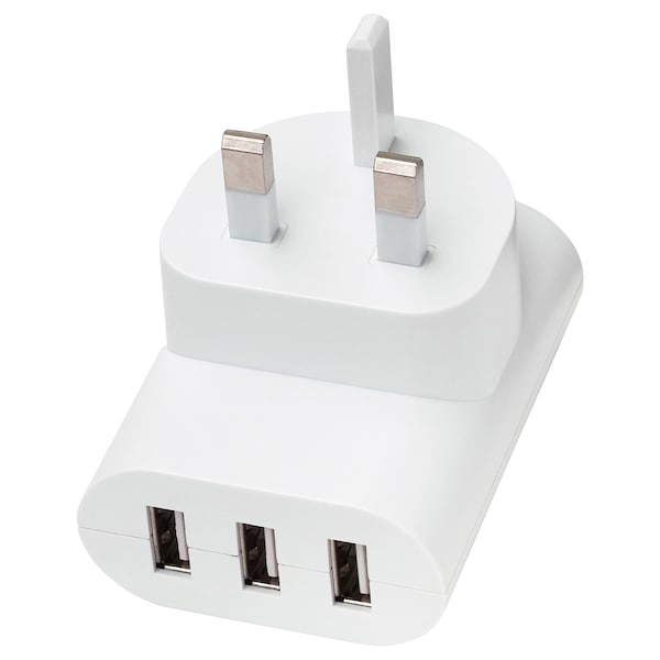 KOPPLA 3-port USB charger, white
