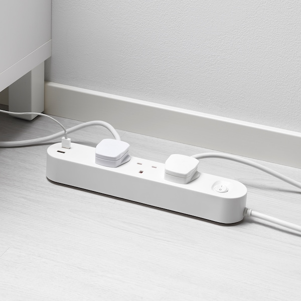 KOPPLA 3-way socket with 2 USB ports, white, 3.0 m