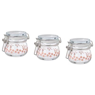 KORKEN Jar with lid, glass printed, 13 cl