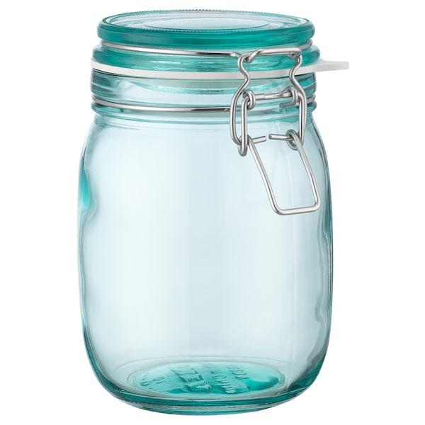 KORKEN Jar with lid, turquoise, 1 l