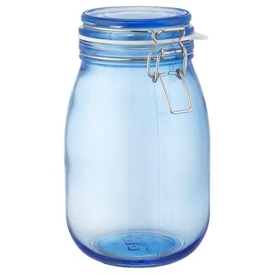 KORKEN jar with lid blue 21.5 cm 12.5 cm 1.8 l