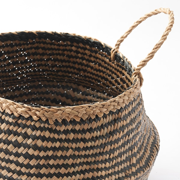 KRALLIG basket seagrass/black 28 cm 25 cm 14 cm