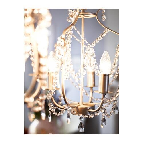 kristaller chandelier 3 armed silver colour glass ikea. Black Bedroom Furniture Sets. Home Design Ideas