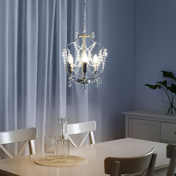 KRISTALLER chandelier, 3-armed silver-colour/glass 40 W 1.72 m 32 cm