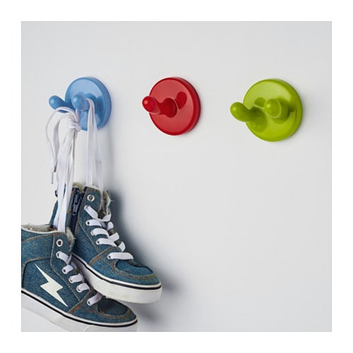 IKEA KROKIG wall hook Set of 3 hooks. 1 green double hook, 1 blue double hook and 1 red single hook.