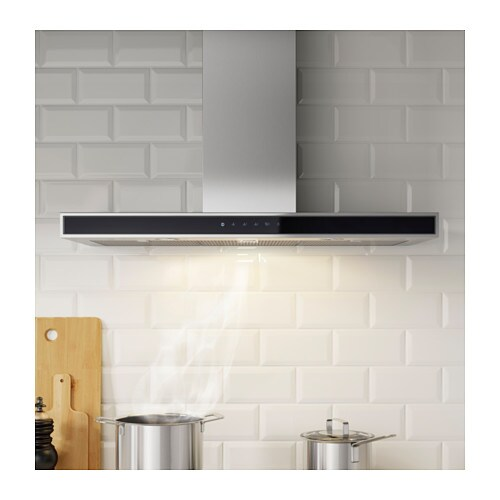 IKEA KULINARISK wall mounted extractor hood Touch control panel at front for easy access and use.