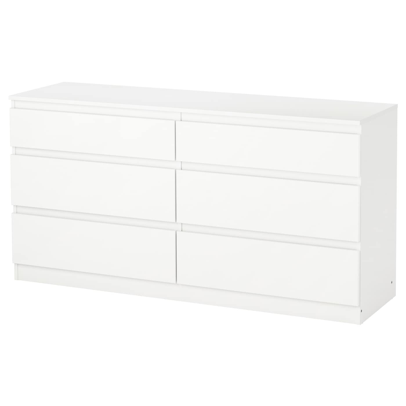 Kullen chest of 6 drawers white 140x72 cm ikea for Sideboard tiefe 30 cm