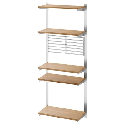 KUNGSFORS suspension rail with shelf/wll grid stainless steel/ash