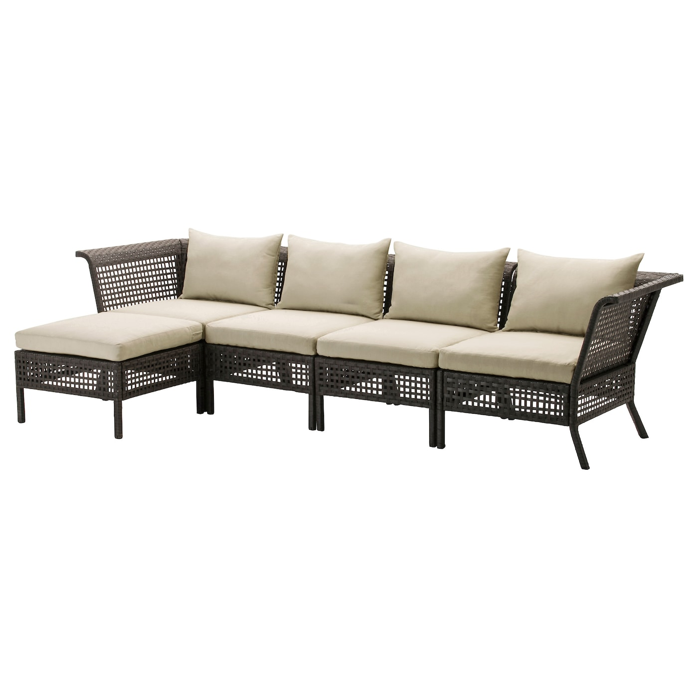 IKEA KUNGSHOLMEN 4-seat sofa with footstool, outdoor