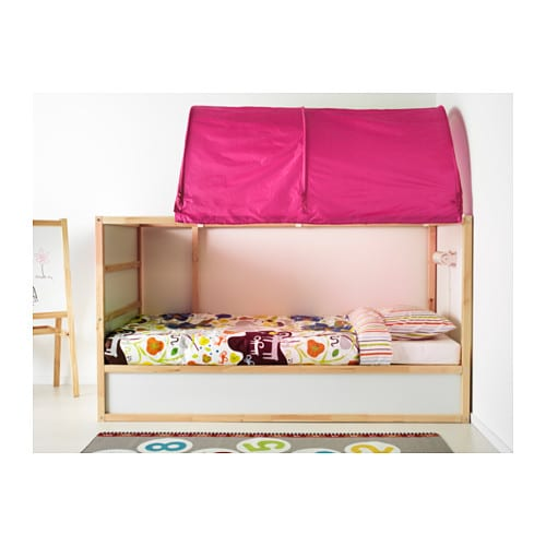 Kura bed tent pink ikea for Ikea kids loft bed
