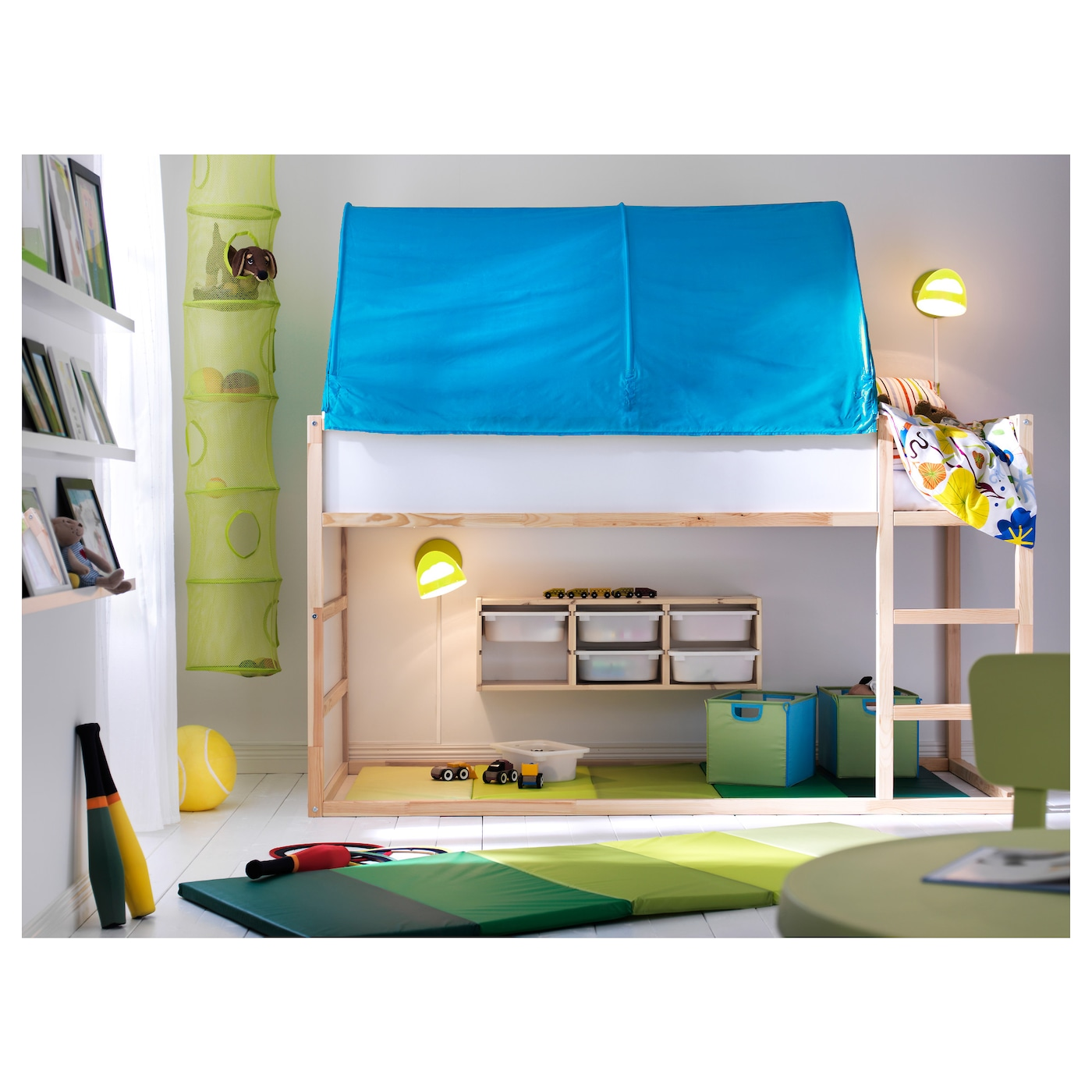 IKEA KURA bed tent Fits the bed both in a low and a high position.