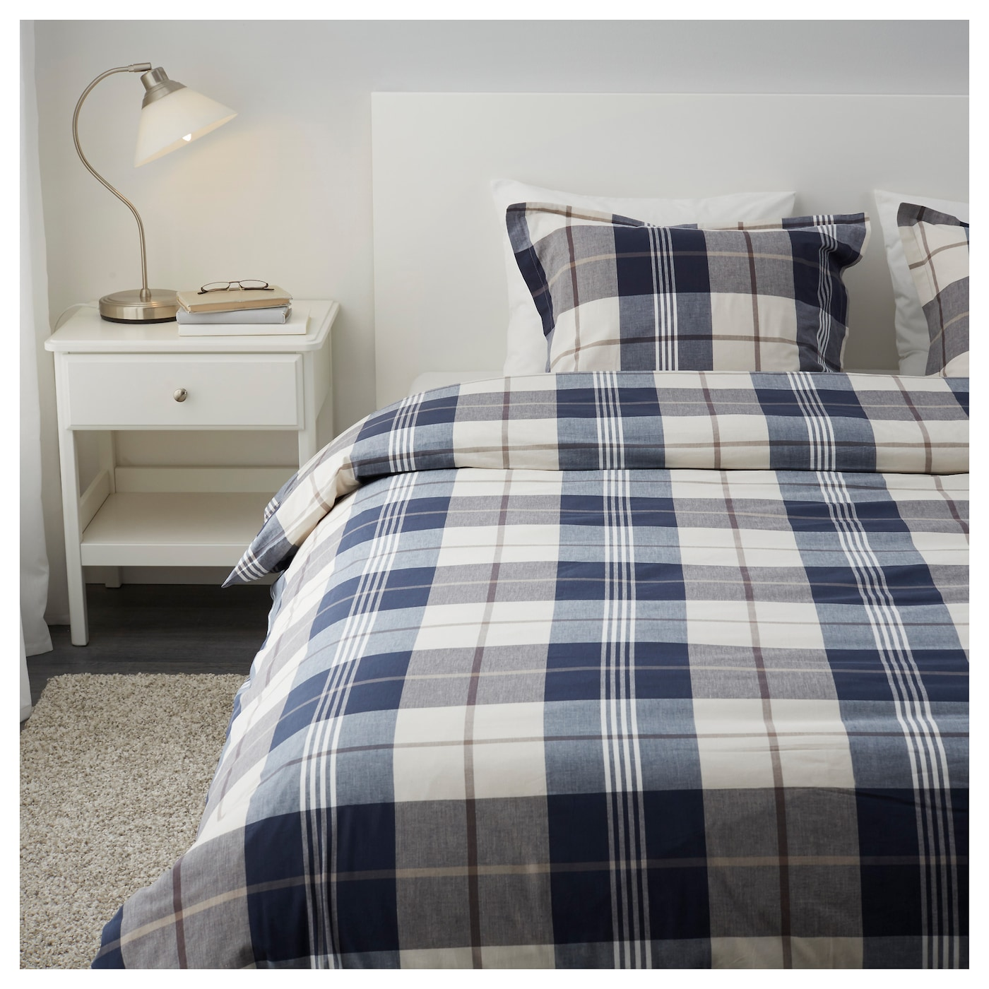 kustruta quilt cover and 2 pillowcases blue check 200x200 50x80 cm ikea. Black Bedroom Furniture Sets. Home Design Ideas