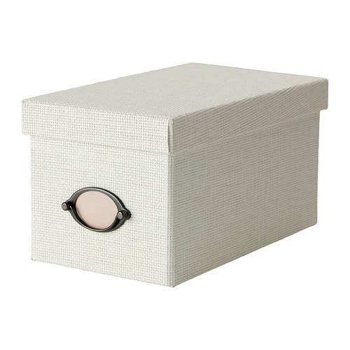 IKEA KVARNVIK box with lid Suitable for storing your CDs, games, chargers or desk accessories.