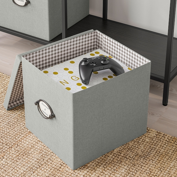 KVARNVIK storage box with lid grey 32 cm 35 cm 32 cm