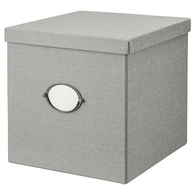 KVARNVIK Storage box with lid, grey, 32x35x32 cm
