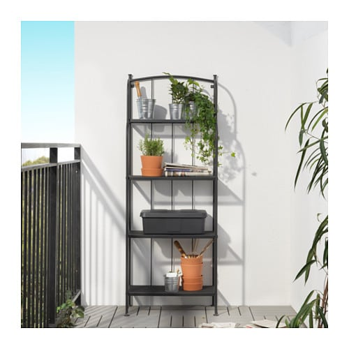 IKEA LÄCKÖ shelving unit, outdoor The materials in this outdoor furniture require no maintenance.