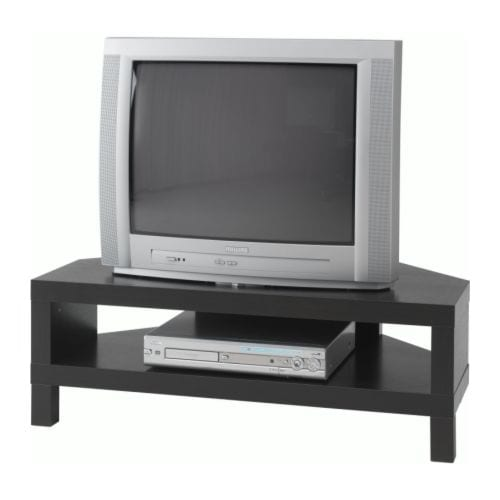 LACK Corner TV bench IKEA Open back; makes cable organising easy.