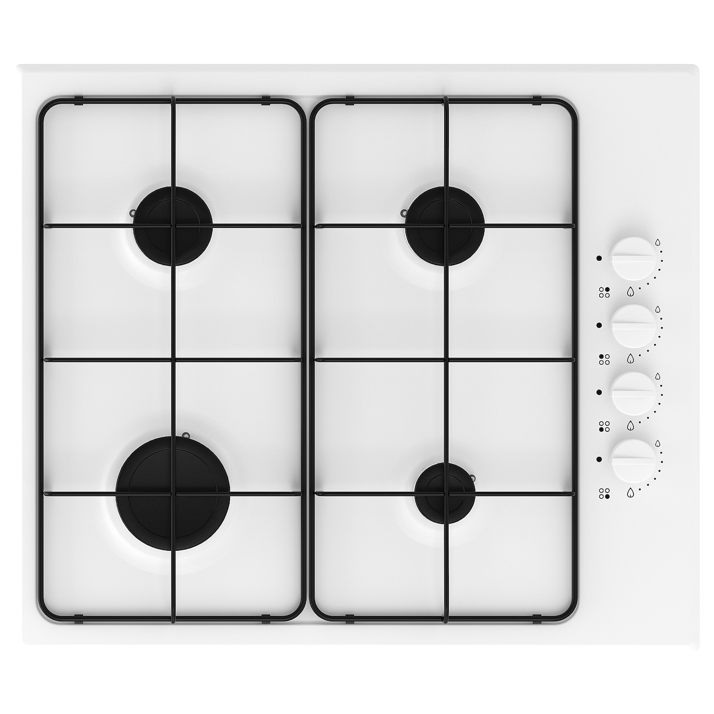 IKEA LAGAN gas hob Electric ignition by using the push-and-turn knob.