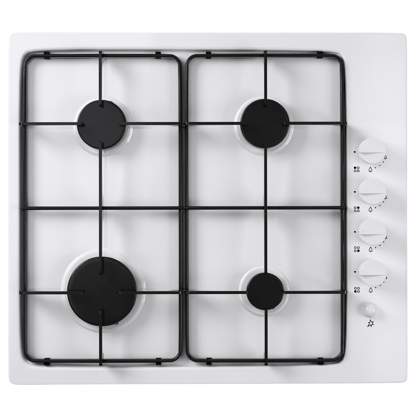 IKEA LAGAN HGA4K gas hob Removable pan supports for easy cleaning.