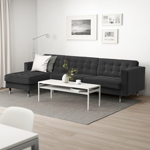 LANDSKRONA 4-seat sofa with chaise longue/velvet dark grey/metal 158 cm 282 cm 89 cm 78 cm 64 cm 180 cm 56 cm 44 cm