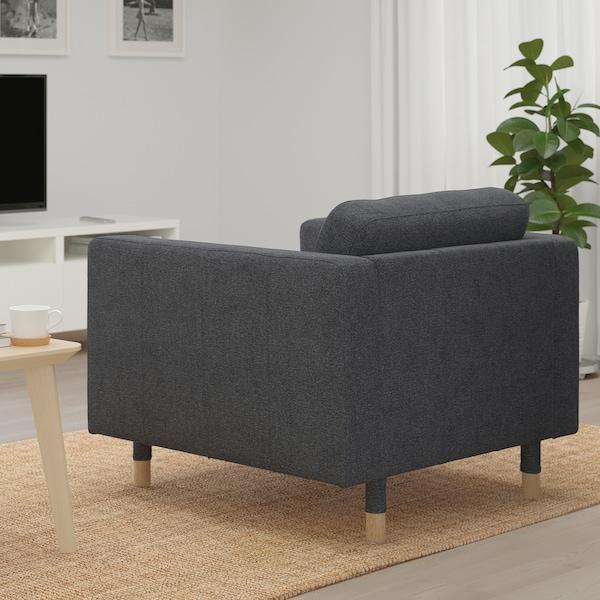 LANDSKRONA Armchair, Gunnared dark grey/wood