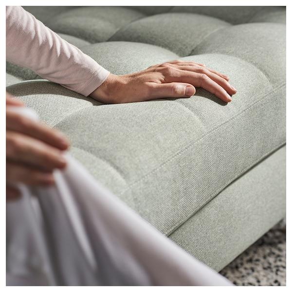 LANDSKRONA corner sofa, 6-seat with chaise longue/Gunnared light green/metal 89 cm 78 cm 359 cm 241 cm 61 cm 44 cm